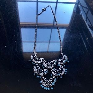 Silver & Blue Tiered Boho Necklace